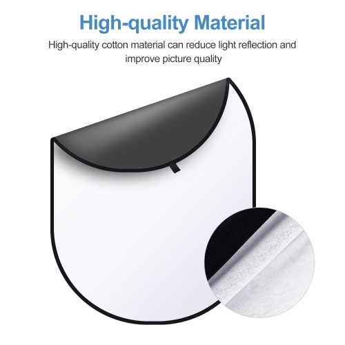 Andoer 5 * 6.5ft/ 1.5 * 2m Black & White 2-in-1 Studio Collapsible Background Panel Double-sided Photography Backdrop Cotton Material with Metal Stand Carry Bag for Video & Photo