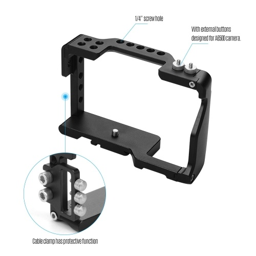 YELANGU Camera Cage Aviation Aluminum Video Film Movie Making Cage with 1/4 Inch Screw Hole Cable Clamp