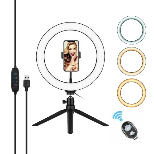 Andoer 10 Inch LED Ring Light with Tripod Stand Phone Holder Remote Control 3200K-5500K Dimmable Table Camera Light Lamp 3 Light Modes & 10 Brightness Level for YouTube Video Photo Studio Live Stream Portrait Makeup Photography