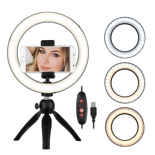 Docooler Portable 8.6 Inch LED Ring Light Lamp 3 Light Modes & Dimmable Brightness