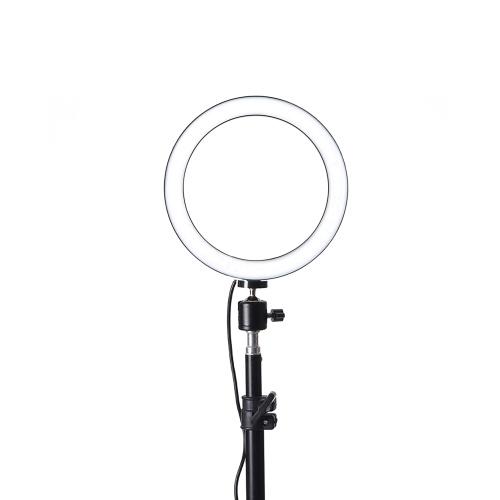 Interface USB 260 mm regulável LED selfie luz redonda fotografia vídeo lâmpada de maquiagem