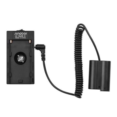 Andoer NP-F970 F750 Adaptador de suporte de placa de bateria com interface USB dupla + Acoplador de bateria fictício EN-EL15