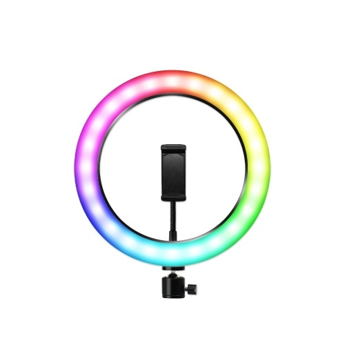 RGB LED Light 10 Inches Ring Light Ringlight Lighting Kit Adjustable Colors Color Temperature Brightness for Makeup Live Streaming Vido Shooting Selfie Creative Photography