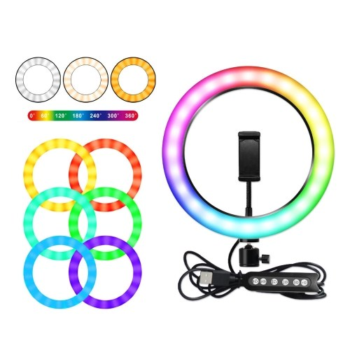 RGB LED Light 10 Inches Ring Light Ringlight Lighting Kit Makeup Light Adjustable Colors Color Temperature Brightness