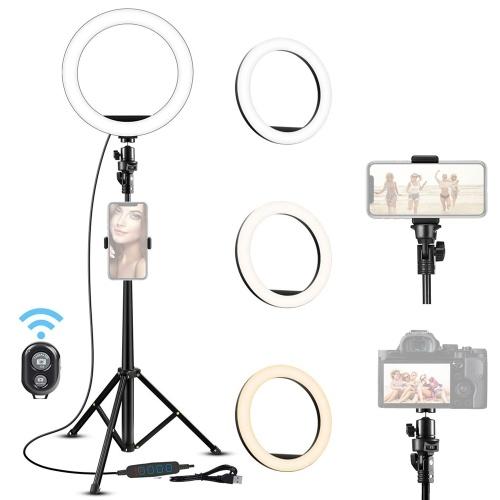 16 cm LED Video Video Ring Lampe Dimmbar 3 Beleuchtungsmodi USB-Stromversorgung mit Kugelkopfadapter Telefonhalter 210 cm Stativständer Drahtloser Fernauslöser