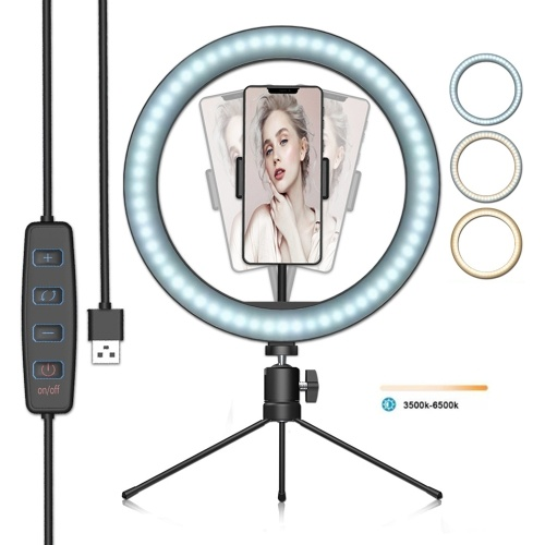 LED Ring Light Dimmable Desktop Fill in Light 3 Modes 10 Brightness Levels with Mini Tripod Phone Holder