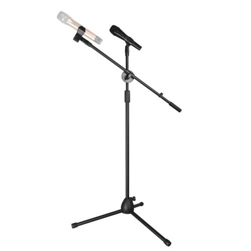 Suporte de microfone de pé para microfone com tripé com ângulo de altura ajustável com clipes de microfone duplo para voz ao vivo em palco