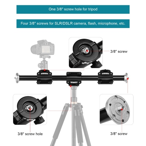 60cm/24.4in Tripod Boom Professional Horizontal Photography Extension Bar Mount Aluminum Alloy with 3/8 Inch Screws