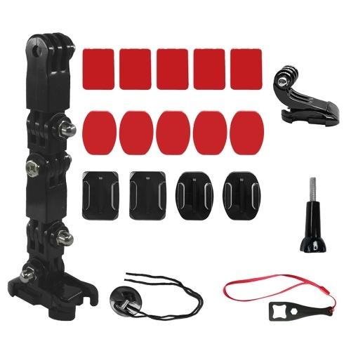 Kit de soporte de montaje de barbilla para casco de motocicleta, accesorio de cámara con almohadillas adhesivas, reemplazo de bases de montaje para GoPro Hero 9/8/7/5