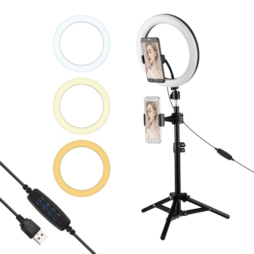 10 Inch Metal LED Ring Light 3 Lighting Modes 10 Levels Brightness USB Powered with 50cm Light Stand + Ballhead Adapter + 2pcs Flexible Phone Holder for Live Streaming Video Recording Network Broadcast Selfie Makeup