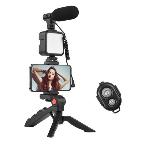 Andoer Phone Vlog Video Kit mit Tischstativ-Telefonhalterung