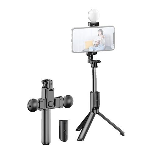 R7 Tragbarer 5-teiliger ausziehbarer Selfie-Stick Integriert mit 360 ° -Drehhalterung Einzel-LED-Ringlicht-Stativfernbedienung für Smartphone Selfie Vlogging Live-Streaming-Porträtfotografie