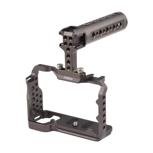 Andoer Cage de caméra + poignée supérieure + poignée latérale Ensemble de poignée de caméra en métal Cage de caméra multifonctionnelle de remplacement de poignée supérieure pour Sony A7C