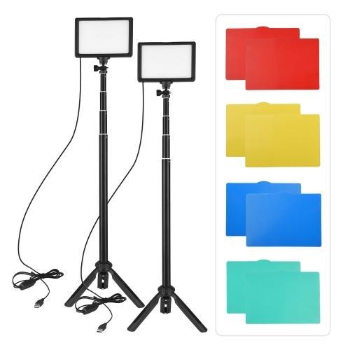 Andoer 2-teiliges USB-LED-Videolicht-Kit Fotobeleuchtung 3200K-5600K 120-teilige Perlen 14-stufig dimmbar