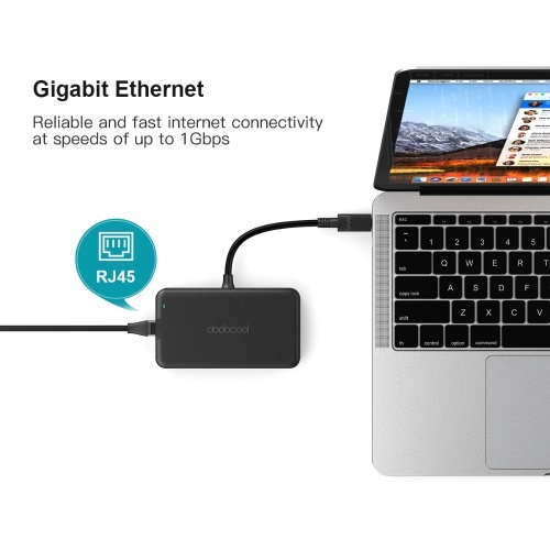 dodocool 7-in-1 Multifunction USB-C Hub with Type-C Power Delivery 4K Video HD/VGA Output Port Gigabit Ethernet Adapter and 3 SuperSpeed USB 3.0 Ports