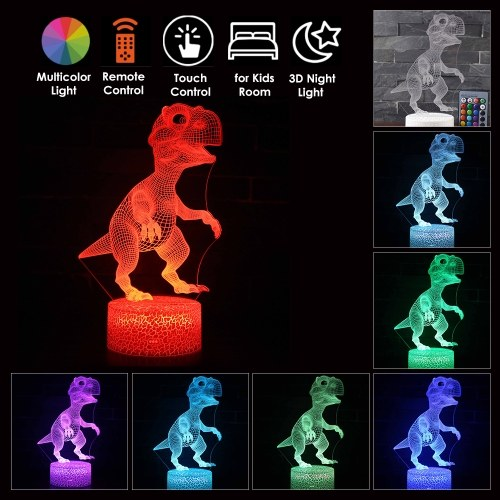 Em forma de dinossauro 3D LED Night Light