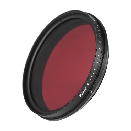 FOTGA 62 mm einstellbarer Infrarotfilter IR-Pass-Röntgenlinsenfilter Variabel von 530 nm bis 750 nm Kompatibel mit Canon Nikon Sony DSLR-Kamera