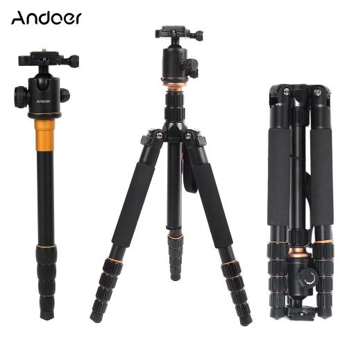 Andoer Foldable Portable Extendable Aluminium Alloy Tripod Unipod Monopod with Ball Head for Canon Nikon Sony DSLR Camera