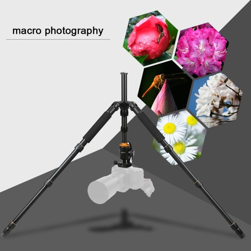 Andoer Foldable Portable Extendable Aluminium Alloy Tripod Unipod Monopod with Ball Head for Canon Nikon Sony DSLR Camera