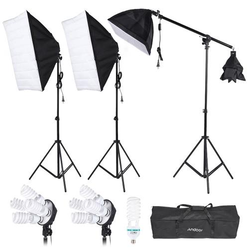 Andoer 写真スタジオ ポートレート製品光照明テント キットの写真ビデオ機器 (3 * ソフト ボックス + 2 * 4 の 1 光ソケット + 片持棒 + 8 * 45 w 電球 + 1 * 135W 電球 + 3 * 軽スタンド + 1 * キャリング バッグ)