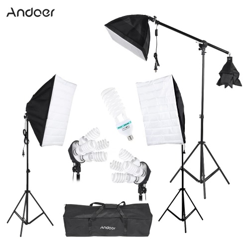 Andoer Photography Studio Portrait Product Light Lighting Tent Kit Photo Video Equipment(3 * Softbox+2 * 4in1 Light Socket