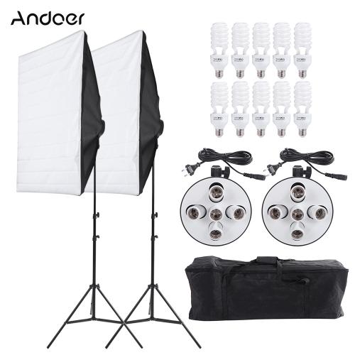 Światło Oświetlenie Andoer Photography Studio portret wyrobów Kit Namiot Photo Video Equipment (2 * 2 * + Softbox 5w1 Trzonek + 10 * 45W żarówki + 2 * Statyw + 1 * Torba)