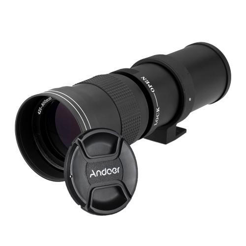 Andoer 420-800mm F / 8,3-16 HD Super Teleobiettivo zoom manuale con T-Mount per Canon Nikon Minolta Sony Pentax Olympus DSLR