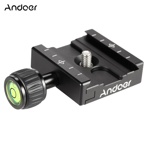 Andoer Adapter Plate Square Clamp with Gradienter for Quick Release Plate for Tripod Ball Head Arca Swiss RRS Wimberley