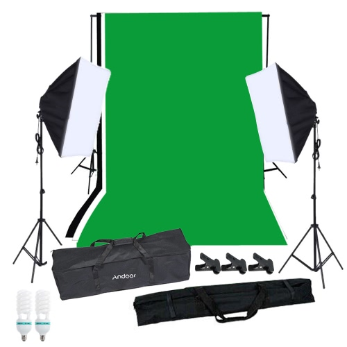 Andoer Photography Softbox Lighting Kit with Studio BackgroundPhotography Studio Portrait Product Light Lighting Tent Kit Photo Video Equipment(2 * 125W Bulb+2 * Sofbox with Single Bulb Socket+3 * Backdrop+Backdrop Stand Set+3 * Clamp+1 * Carrying Bag)