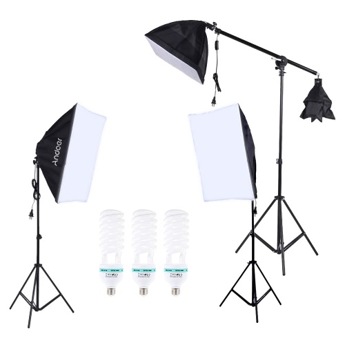 Andoer Photography Photo Lighting Kit Set with 5500K 135W Daylight Studio Bulb Light Stand Square Cube Softbox Cantilever Bag