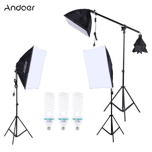Andoer Profesjonalna fotografia Photo Lighting Kit Zestaw z 5500K 135W żarówka Daylight Studio Kwadrat Stojak Cube softbox wspornikowych Bag