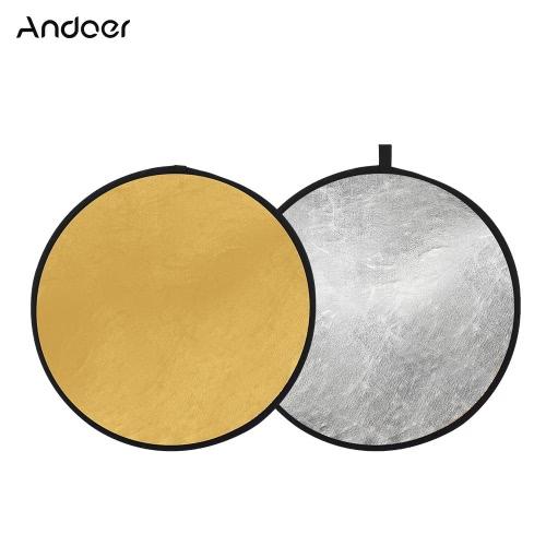 "Andoer 24 ""60cm Reflector portátil de disco plegable Reflector de fotografía Reflector de oro y plata 2-en-1 para fotografía de retrato Live Streaming"