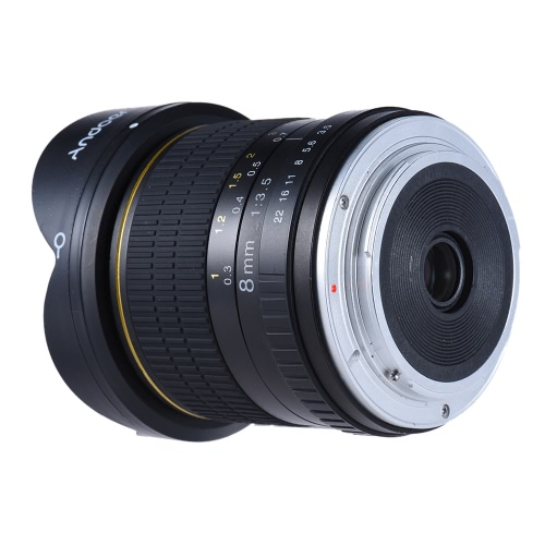 Andoer 8mm F / 3.5 170 ° Ultra Wide HD Fisheye Aspherical Rund Objektiv für Canon EOS DSLR-Kameras - Full Frame Compatible
