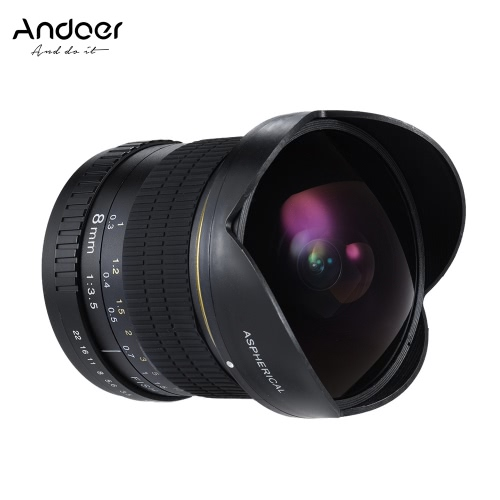 Andoer 8mm F / 3.5 170 ° Ultra Wide HD Fisheye asphérique Circulaire Objectif pour Canon EOS DSLR - Full Frame Compatible