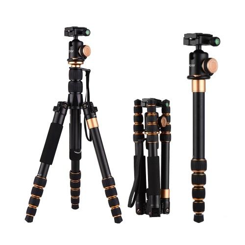 Andoer Portátil de 5 Seções Câmera Ajustável Filmadora Tripé de Vídeo Monopé Destacável Material de Liga de Alumínio