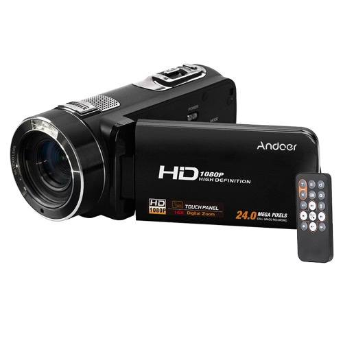 Andoer HDV-Z8 1080P Full HD Digital Video Camera Camcorder 16× Digital Zoom with Digital Rotation LCD Touch Screen Max. 24 Mega Pixels Support Face Detection