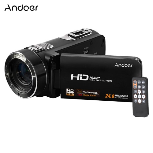 Andoer HDV-Z8 1080p Full HD Digital Videokamera-Camcorder 16 × Digitalzoom mit Digital-Rotation LCD-Screen-Max. 24-Megapixel-Unterstützung Gesichtserkennung