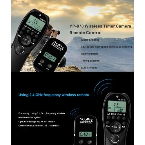 YouPro YP-870 E3 2.4G Wireless Fernbedienung LCD Timer Shutter Release Transmitter Receiver 32 Kanäle für Canon 600D 650D 700D 760D 750D 70D 7D2 60D 1100D 1200D 500D 450D Rebel T2i T3i T4i T5i für Pentax Samsung Contax DSLR Kamera