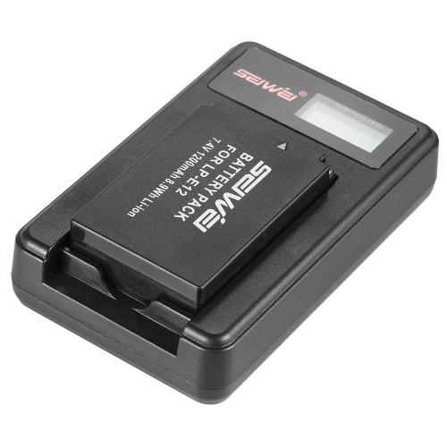 LP-E12 2 Pack 7.4 v 1200mAh Li-ion ricaricabile batteria di ricambio con LCD USB Charger Kit per Canon EOS 100D/EOS Rebel SL1/EOS-M/EOS-M2