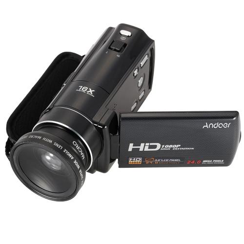 Andoer HDV-V7 1080PのフルHDデジタルビデオカメラビデオカメラ最大24メガピクセル/ 37ミリメートル0.45×広角レンズのw 3.0