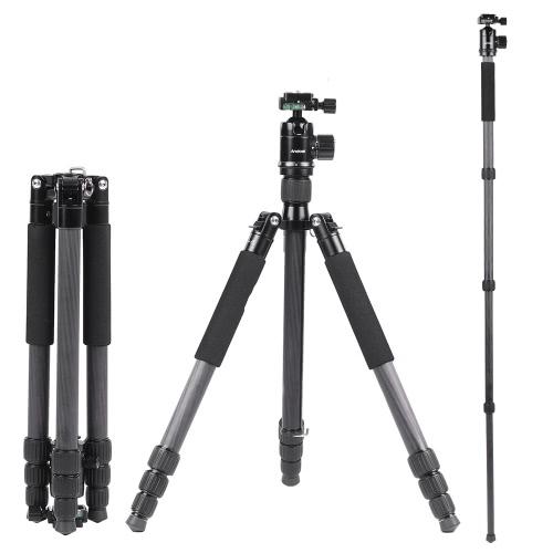 Andoer Składany Portable Carbon Fiber Tripod 15kg Maksymalna ładowność monopodu monopod z głowicą Ball 36mm 28mm Max średnica rury dla Canon Nikon Pentax Sony DSLR Camera