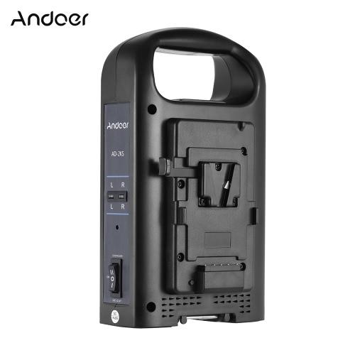 Andoer AD-2KS cargador de batería de la videocámara dual de 2 canales para V-Monte de batería para la cámara de vídeo DSLR