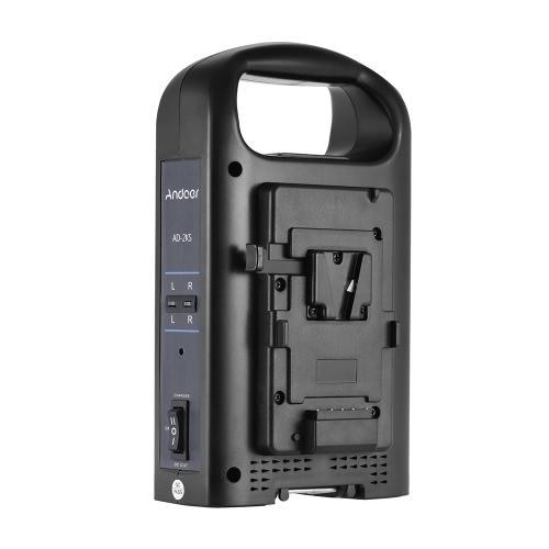 Andoer AD-2KS 2-Kanal Dual-Camcorder Akkuladegerät für V-Mount Akku für DSLR-Videokamera