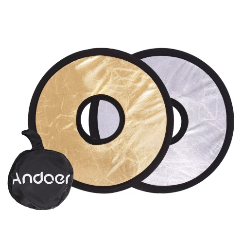 Andoer 30cm 2in1 Round Hollow Collapasible Multi-Disc Portable Circular Light Lens-Mount Reflector Silver Golden