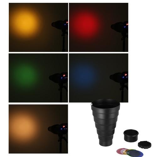 Snoot con panal rejilla 5 x Kit de filtro de Color para Elinchrom impacto EX / Calumet Génesis / Interfit EX Flash estroboscópico