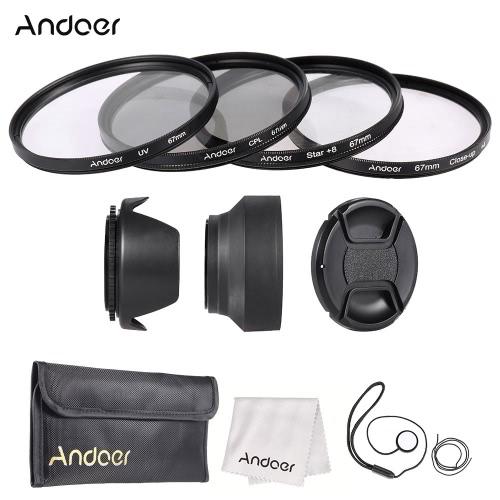 Andoer 67mm Zestaw filtra obiektywu (UV + CPL + Gwiazda + 8 + Bliska + 4) z Lens Cap + Lens Cap Holder + Tulip & Rubber obiektywu Okapy + Ściereczka