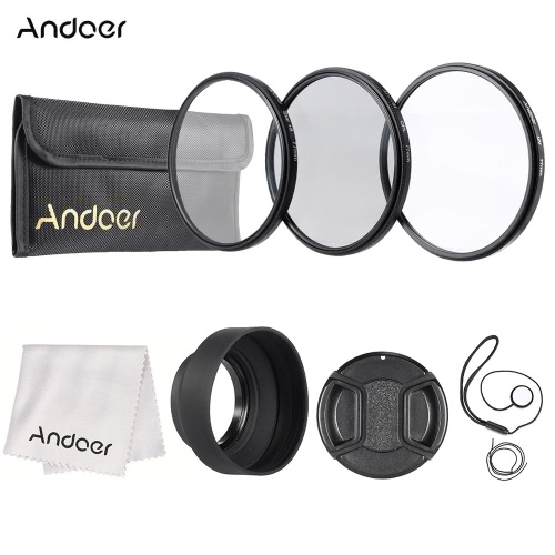 Andoer 77mm Lens Filter Kit(UV+CPL+Star+8) with Lens Accessories