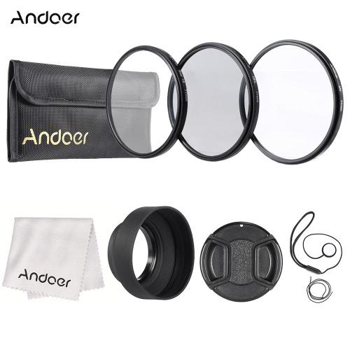 Zestaw filtrów soczewek Andoer 77mm (UV + CPL + Star + 8) z akcesoriami z obiektywem