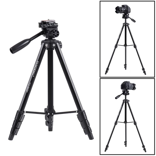 YUNTENG681 Portable Aluminum Alloy Lightweight Tripod Load Capacity 2.5KG with Universal Smartphone Mount for Sony ILDC Digital Camera