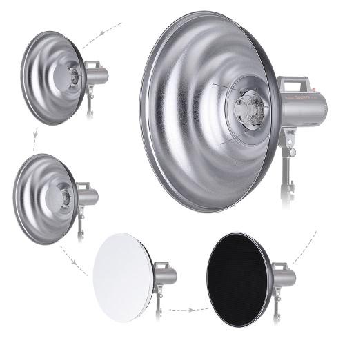 55cm / 21,7 cala Zaondulowany Beauty Dish Reflektor z Honeycomb miękką ściereczką Dwa Mini reflektorów stock akcesoriów do montażu Bowens Strobe Studio lampą błyskową